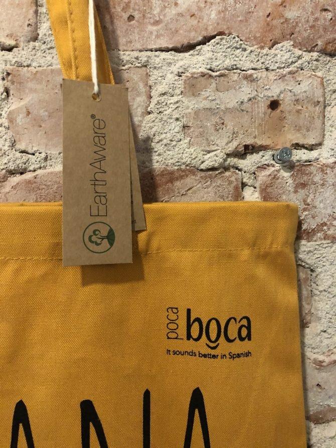 Gele tas zwart logo Poca Boca