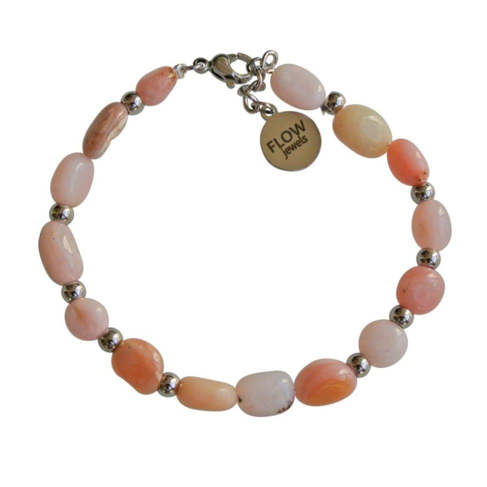 FlowJewels armband zilver licht roze