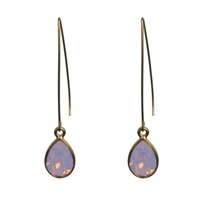 FlowJewels oorbellen goud roze opaal