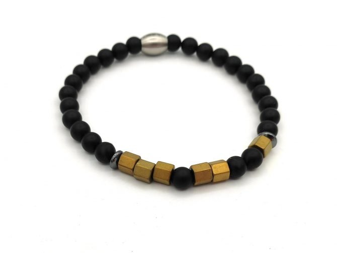 Morse Code Armband,man,opa,mannen Armband,zwart,natuursteen,goud,koper,onyx,morsecode,2,byjulian