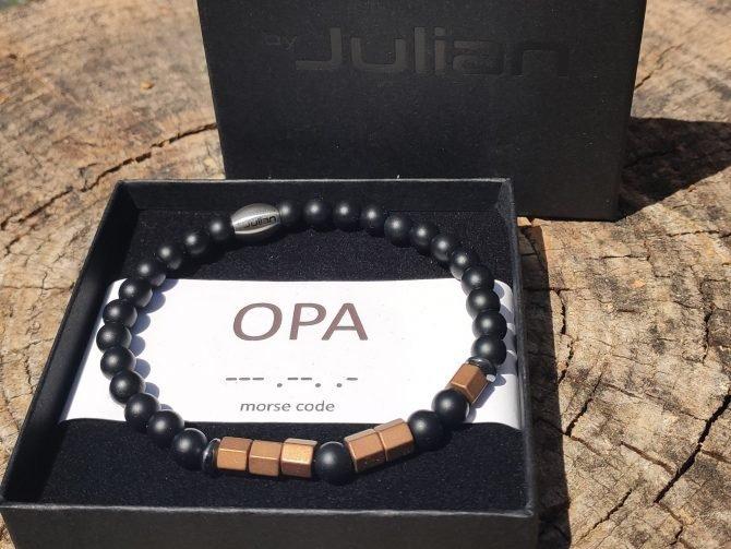 Morse Code Armband,opa,by Julia,natuursteen,mannen Armband, Heren Armband,opa
