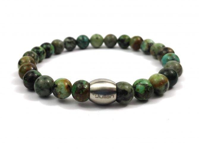 Nane Afrikaans Turkoois,,heren Armband,mannen Armband,natuursteen,groen,turquoise,byjulian,1