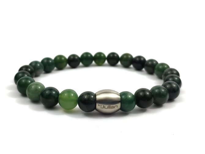 Nane Mosagaat ,heren Armband,mannen Armband,natuursteen,groen,agaat,byjulian,1
