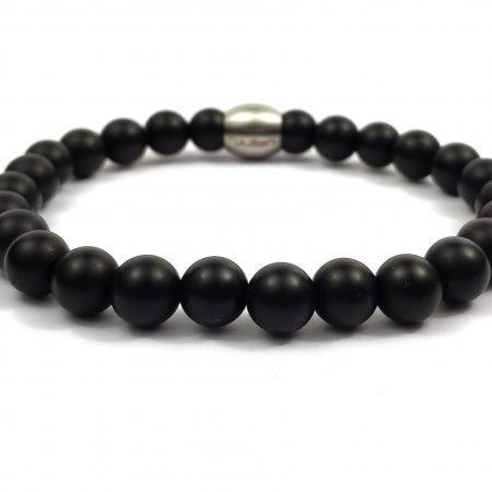 Nane Obsidiaan,heren Armband,mannen Armband,natuursteen,rvs,mat Zwart,zwart,byjulian