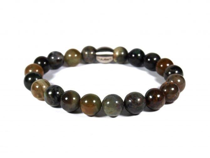 Umi,armband Heren,mannen Armband,armband,natuursteen,rvs,oceaan Jaspis,groen,bruin,10mm,groen,byjulian,2