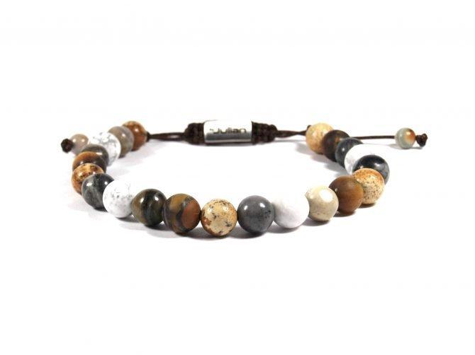 Batu Nane Beige,mannen Armband,heren Armband,natuursteen,beige,wit,by Julian (2)