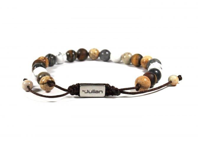 Batu Nane Beige,mannen Armband,heren Armband,natuursteen,beige,wit,by Julian