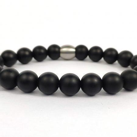 Umi Obsidiaan,heren Armband Mannenarmband Natuursteen,zwart,rvs,byjulian