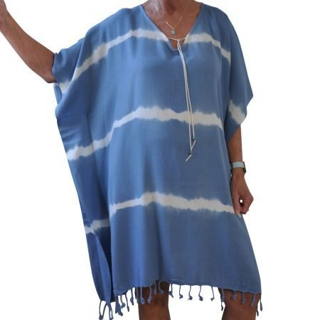 Yazgibi Tuniek Tiedye Batik Blauw Voor