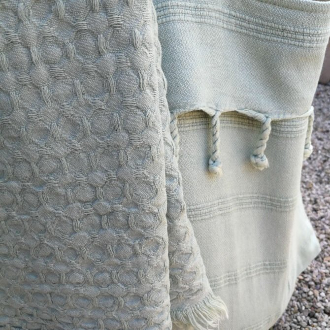 Yazgibi Beachbag Stonewashed Wafeldoek Mint Detail