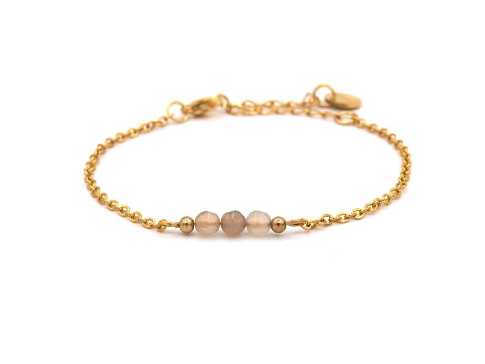 Elif,armband,goud,agaat,grijs,beige,natuursteen,facet,rvs,indah