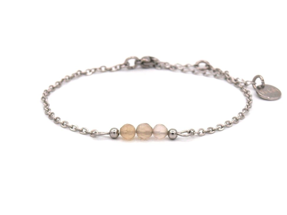 Elif,armband,zilver,agaat,grijs,beige,natuursteen,facet,rvs,indah