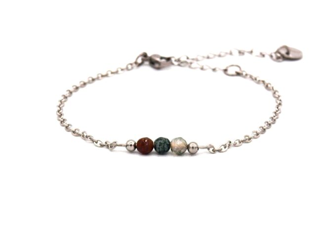 Elif,armband,zilver,agaat,indian,groen,rood,natuursteen,facet,rvs,indah