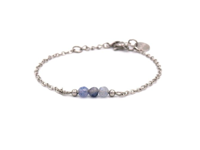 Elif,armband,zilver,aquamarijn,blauw,licht Blauw,,natuursteen,facet,rvs,indah