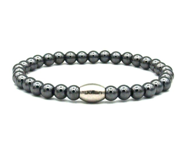 Enam Hematiet,heren Armband,mannenarmband,kralen,natuursteen,zwart,grijs,zilver,byjulian