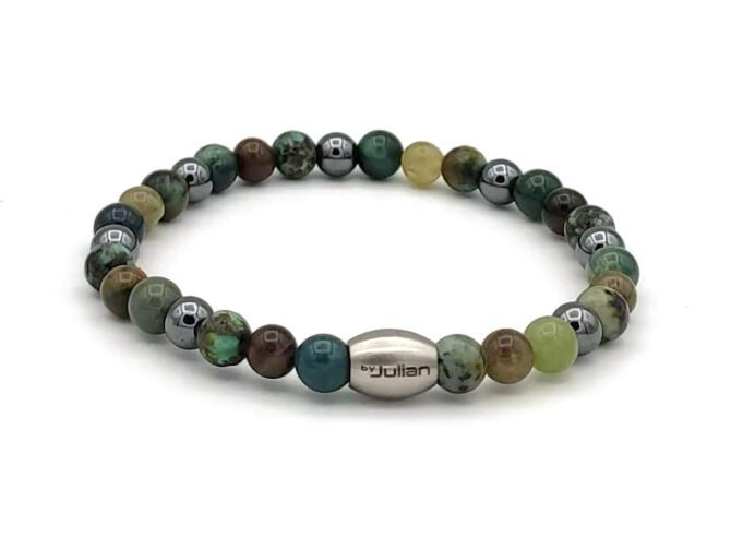 Enam Mix,groen Hematiet,heren Armband,mannenarmband,natursteen,1,byjulian