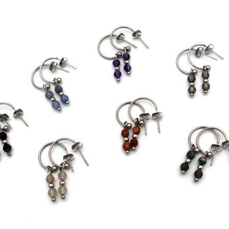 Oorbellen,oorsteker,zilver,rvs,elif,natuursteen,pars,bruin.rood,groen,20,21