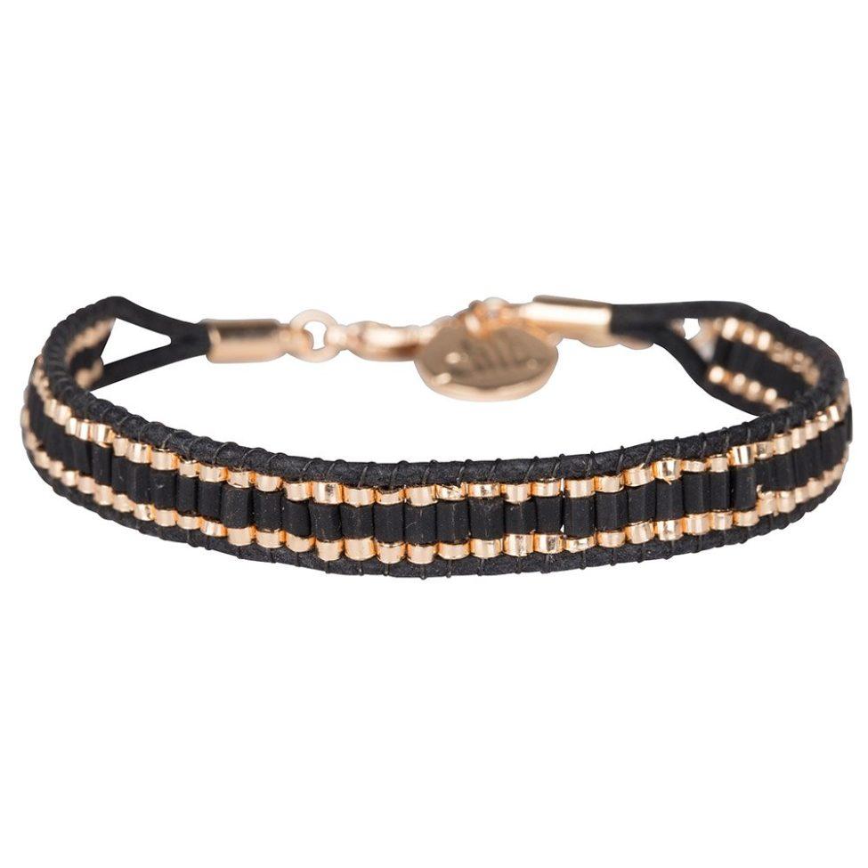 Armband Utsav Zwart Rose Goud