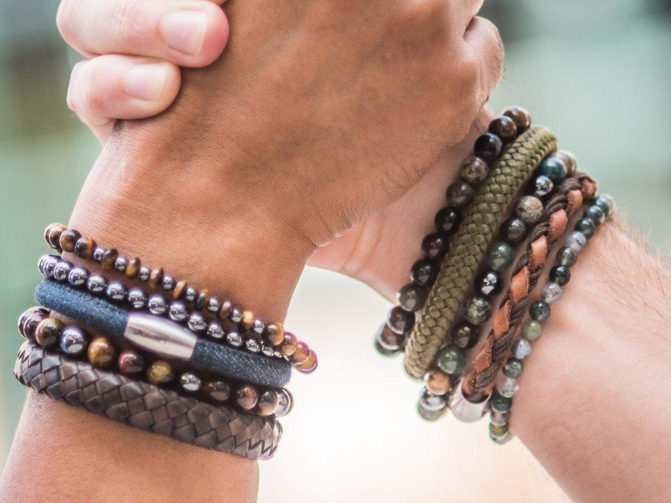 Armbanden Set,by Julian,leer,natuursteen,mix,leer,bruin,groen,blauw