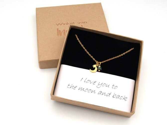 Ketting,maan,love You To The Moon,natuursteen,goud,rvs