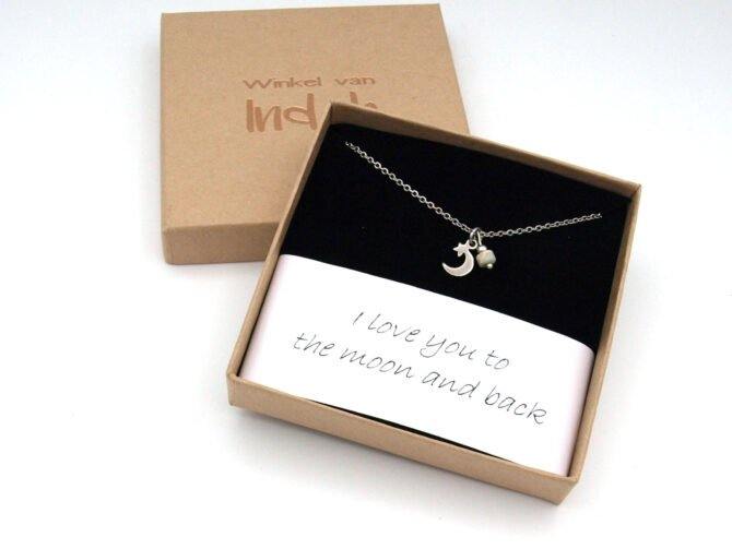 Ketting,maan,love You To The Moon,natuursteen,zilver,rvs