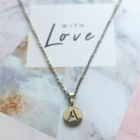 Ketting,rvs,letter,initaal,letter Ketting,initiaal Ketting,zilver