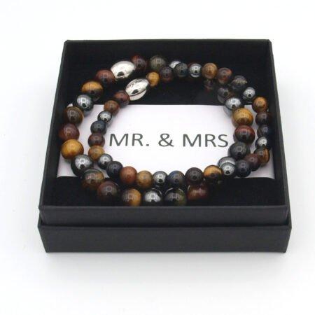 Koppel Armband,man,vrouw Armband,natuursteen,mr,mrs,armband,byjulian,bruin.1