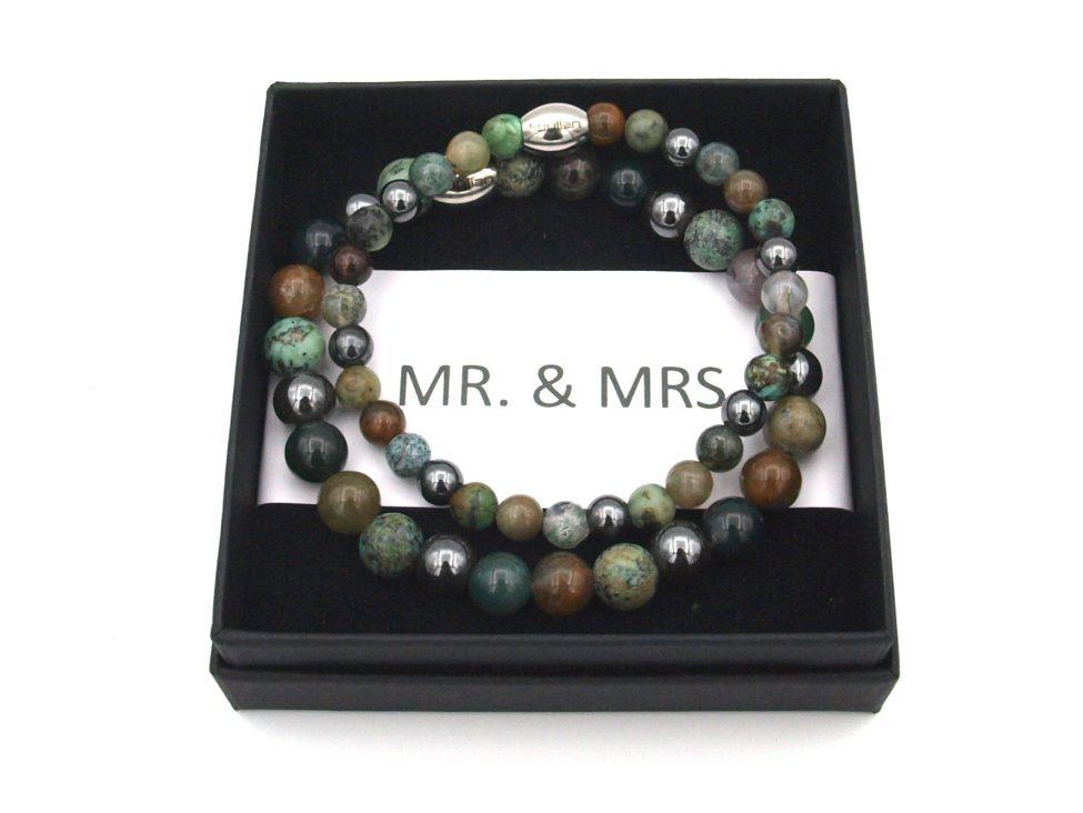 Koppel Armband,man,vrouw Armband,natuursteen,mr,mrs,armband,byjulian,groen