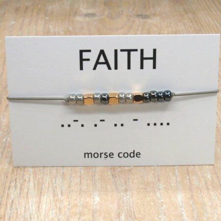 Morse Code Armband,morse Code,armband,faith,indah,grijs,zilver,rose Goud,rose Gold