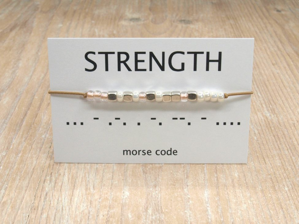 Morse Code Armband,morse Code,armband,strength,indah,beige,zilver,silver