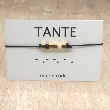 Morse Code Armband,morse Code,armband,tante,indah,zwart,wit,goud,gold