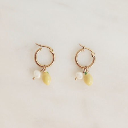 Handmade Lemon Freshwater Pearl Earrings