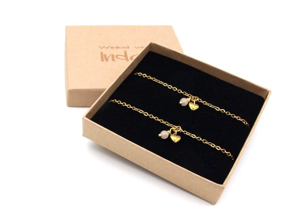 Moeder,dochter,armband,rvs,goud,hart,rozenkwarts