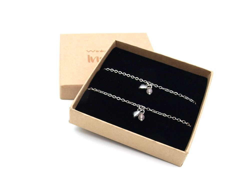 Moeder,dochter,armband,rvs,zilver,hart,rozenkwarts