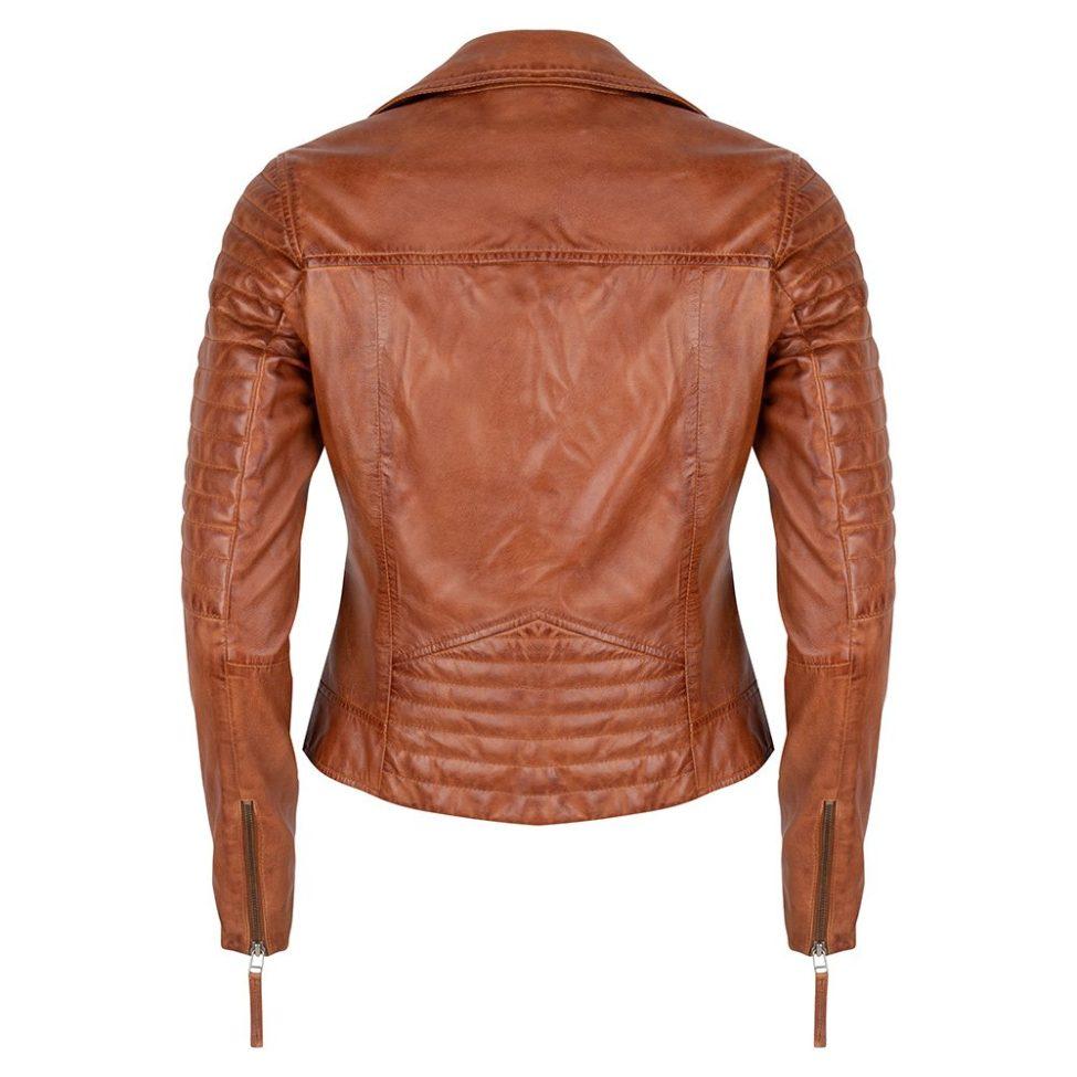 Leather Jacket Cognac Back