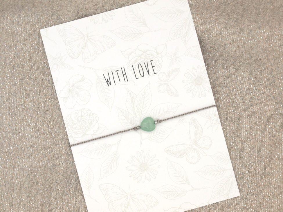 Armband Love,aventurijn,grijs,zilver,valentijn,moederdag,indah