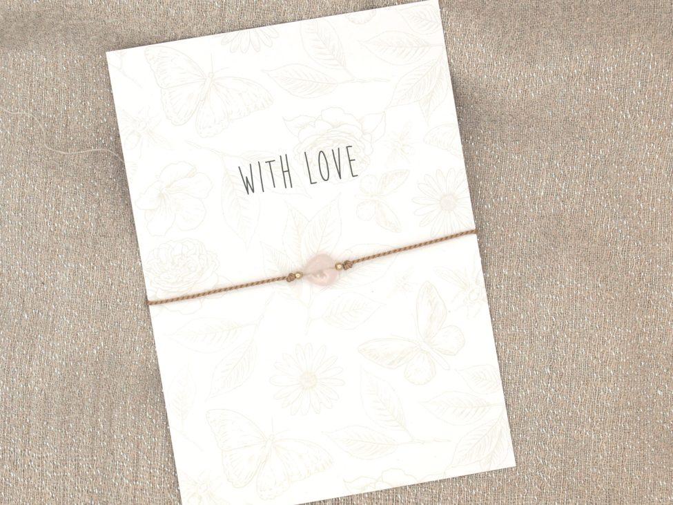 Armband Love,rozenkwarts,beige,goud,valentijn,moederdag,indah