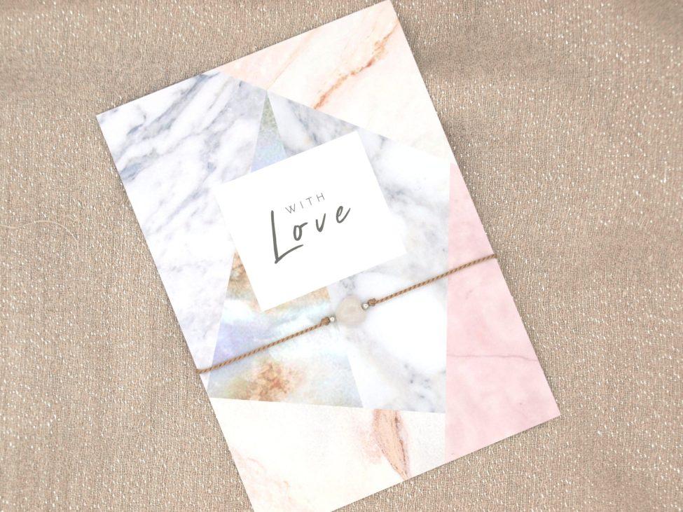 Armband Love,rozenkwarts,beige,zilver,valentijn,moederdag,indah