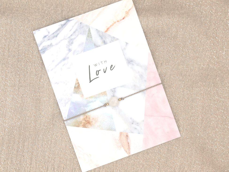 Armband Love,rozenkwarts,grijs,goud,valentijn,moederdag,indah