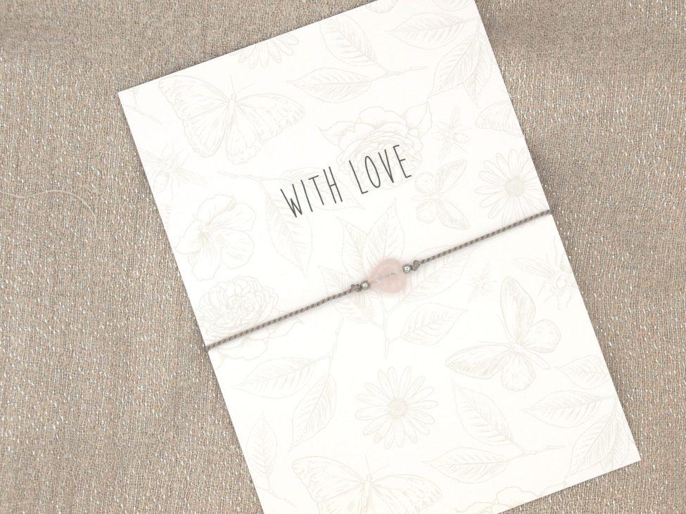 Armband Love,rozenkwarts,grijs,zilver,valentijn,moederdag,indah