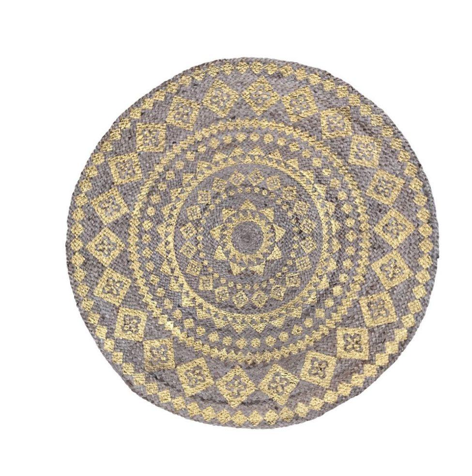 Vloerkleed Gevlochten Jute Print Goud Rond 120cm