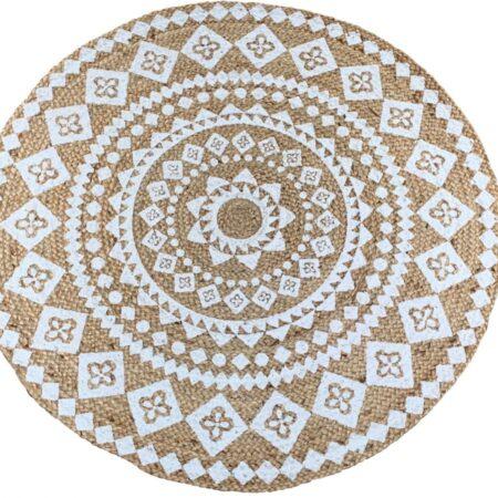 Vloerkleed Jute Geweven Wit Print Mandala 120 Cm