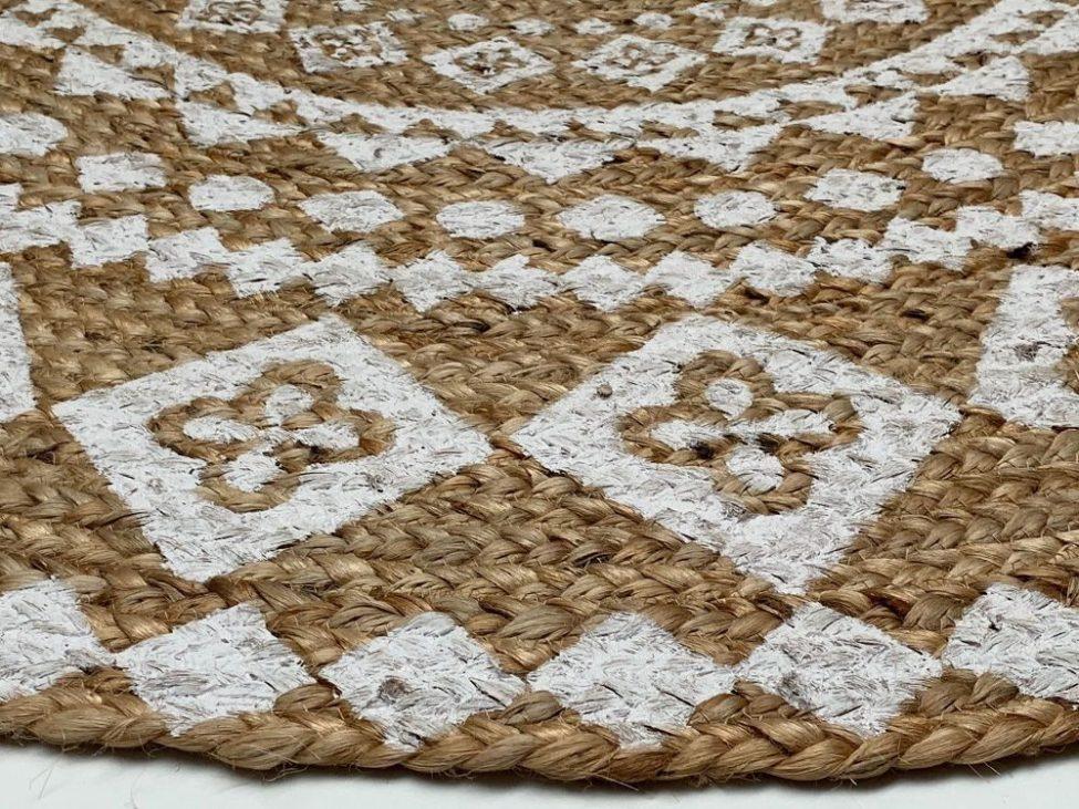 Vloerkleed Jute Geweven Wit Print Mandala