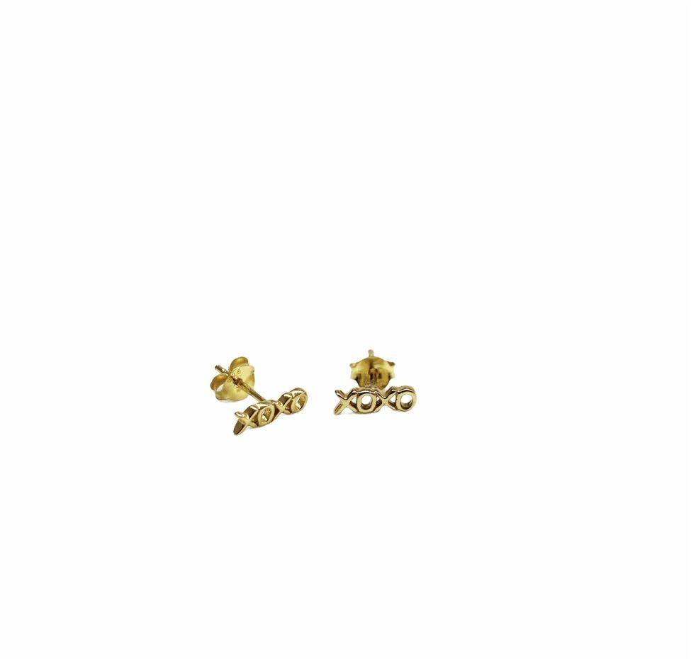 Xoxo Gouden Oorknopjes Op Sterling Zilver By Sas Gouden Kusjes Voor In Je Oor