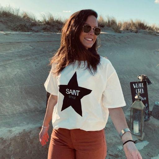 T-shirt oversized met ster