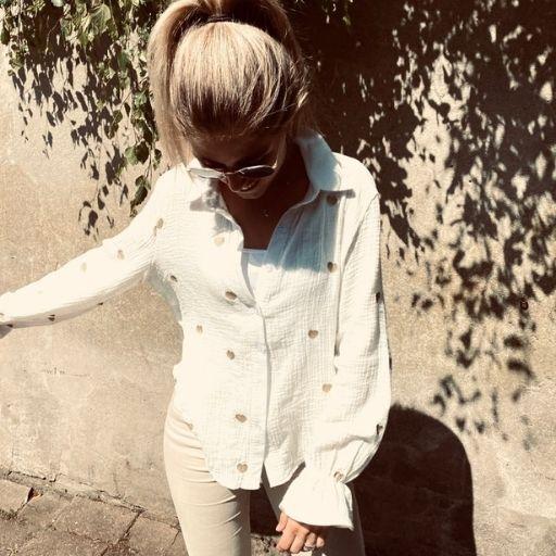 crinkle blouse met gouden hartjes mocha fashion
