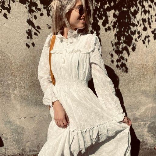 lange witte geborduurde jurk mocha fashion