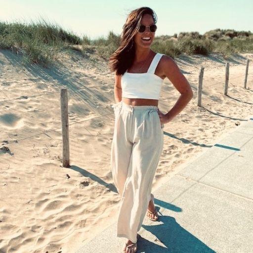 linnen broek zandkleur mocha fashion