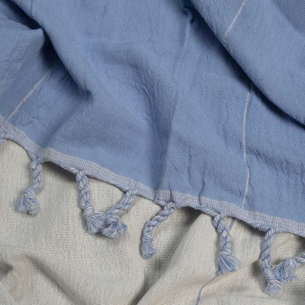 yazgibi hamamdoek double blue naturel detail