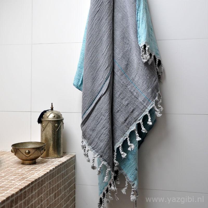 yazgibi hamamdoek double grey turquoise